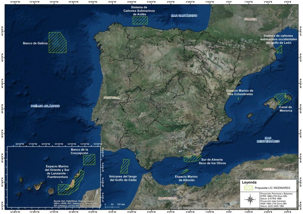 Áreas identificadas en el proyecto INDEMARES (fuente: web de proyecto http://www.indemares.es/areas-marinas)