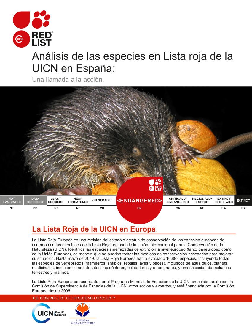 Análisis de las especies de la lista roja de la uicn UICN en españa: una llamada urgente a la acción